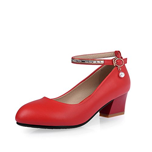 Balamasa Ladies Chunky Heels Buckle Kitten-heels Soft Material Pumps-Zapatos Rojo