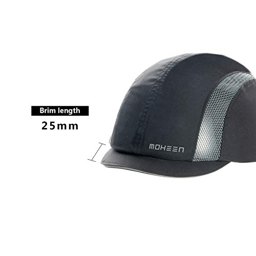 Lightweight and Breathable Hard Hat Head Protection Cap Grey Short Brim Safety Bump Cap With Reflective Stripes