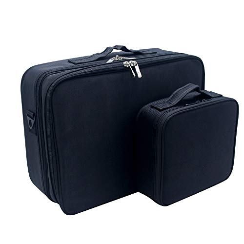 MONSTINA Cosmetic Bag Cosmetic Organizer Beauty Artist Storage Brush Box Large+Small,The Large One With Shoulder Strap(S+L,2Pcs Black) from MONSTINA