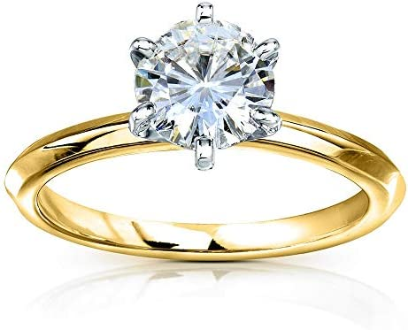 Kobelli Classic Solitaire Round Brilliant Moissanite Engagement Ring 1 Carat 14k Yellow Gold (HI, VS)