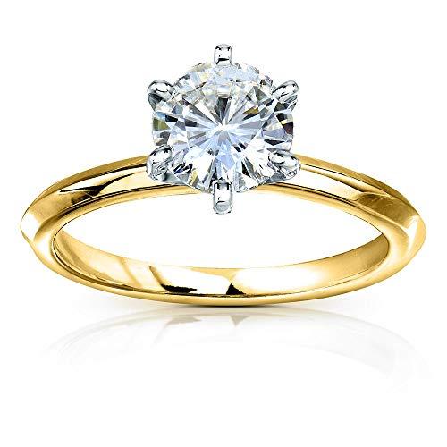 Classic Solitaire Round Brilliant Moissanite Engagement Ring 1 Carat 14k Yellow Gold (HI, VS), 4.5