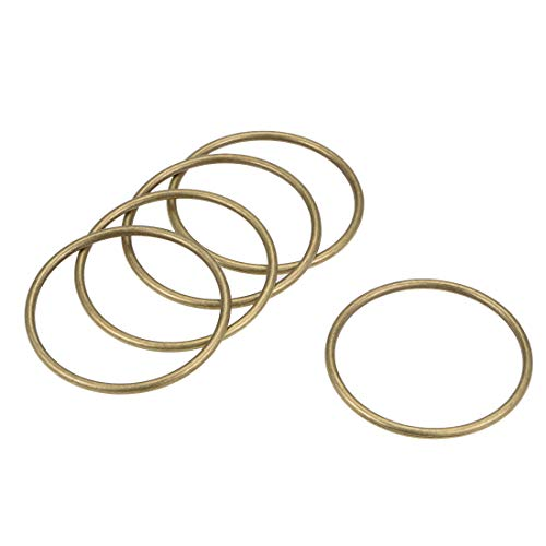 uxcell 5 Pcs O Ring Buckle 2-Inch(50mm) Metal O-Rings Bronze Tone for Hardware Bags Belts Craft DIY Accessories