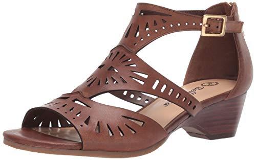 Bella Vita Women's Penny Cutout Sandal with Back Zipper Shoe, Camel Burnish Leather, 11 W US