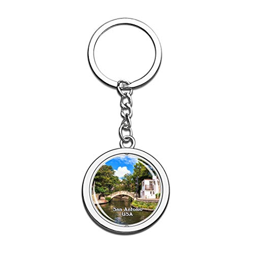 USA United States Keychain River Walk San Antonio Key Chain 3D Crystal Spinning Round Stainless Steel Keychains Travel City Souvenirs Key Chain Ring