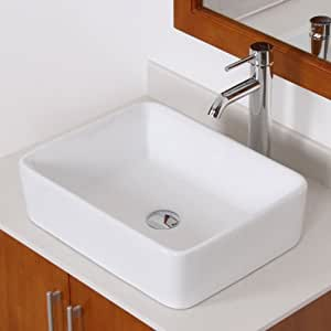ELITE Bathroom Rectangle White Ceramic Porcelain Vessel