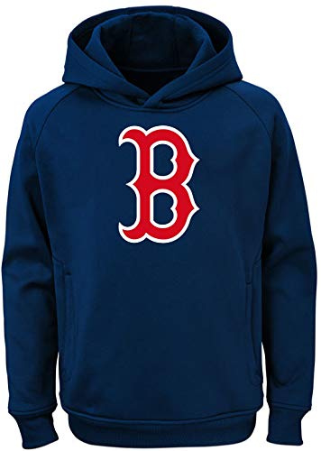 Outerstuff MLB Youth 8-20 Team Color Polyester Performance Primary Logo Pullover Sweatshirt Hoodie (Small 8, Boston Red Sox)