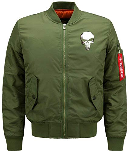 Chaqueta Manga De De De Los De Lino Collar Bombardero Flight Acolchado Cráneo De Jacket Hombres Chaqueta Green Larga Delgado 1 Chaqueta Vuelo Jacket Modelado XP6YwP