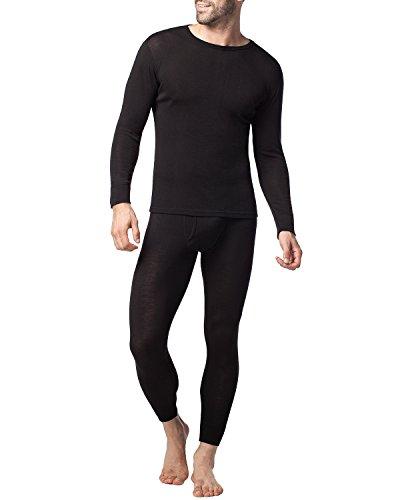 Lapasa Men's Merino Wool Thermal Sets Midweight Base Layer Top & Bottom M31 (Medium, Black) (Midweight Underwear Top)