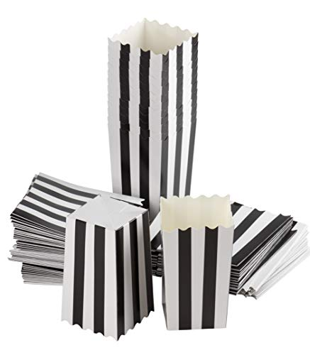 Set of 100 Popcorn Favor Boxes - 20oz Mini Paper Popcorn and Candy Containers, Great for Halloween Party Supplies, Carnival, Birthday, Baby Shower, Black and White Stripes - 3.3 x 5.5 x 3.3 Inches ()