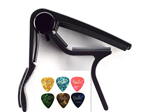 Guitar Picks Guitar Capo Quick Change Acoustic Guitar Accessories Trigger Capo Key Clamp Black With Free 6 Pcs Guitar Picks (Electric Guitar Acoustic)
