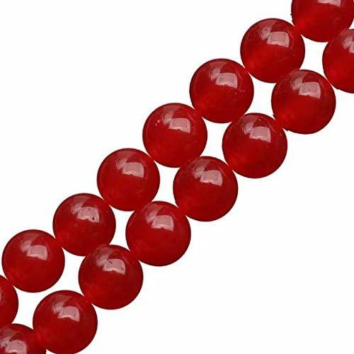 Giada Colorata Rosso Tondo Liscio Semipreziose 4mm Perline per Creazione Gioielli Circa 38cm un Filo 90 Perline