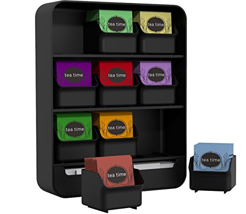 Mind Reader 9 Removable Drawers Tea Bag holder and Condiment Organizer, Black by Mind Reader