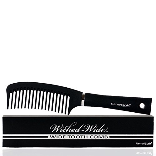 RemySoft Wicked-Wide - Wide Tooth Detangling Comb - Safe for Hair Extensions, Weaves and Wigs (Hair Extension Comb)