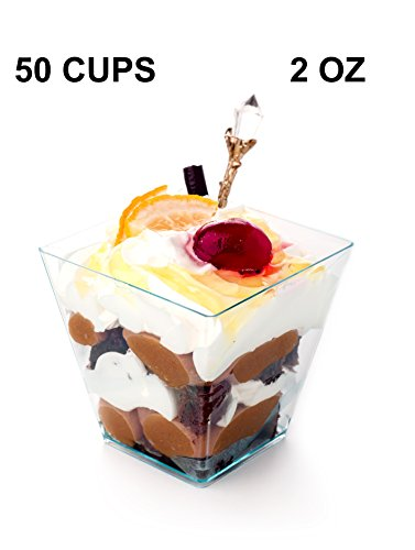 Premium Square Plastic Mini Dessert Cup ( 2 oz ) Made from Durable Crystal Clear Plastic, Parfait & Appetizer (50)