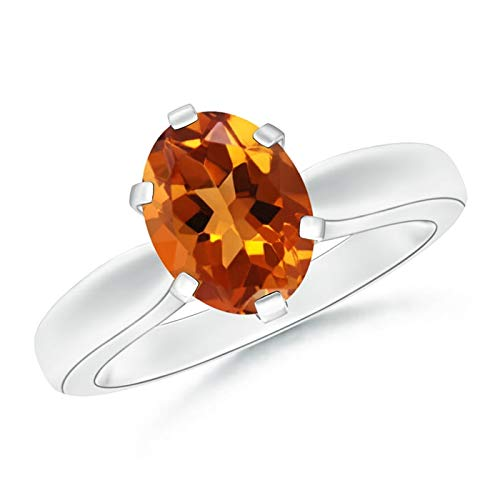 Tapered Shank Oval Solitaire Citrine Ring in Platinum (9x7mm Citrine)