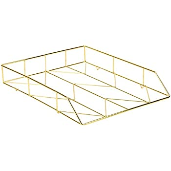 U Brands Desktop Letter Tray, Wire Metal, Gold