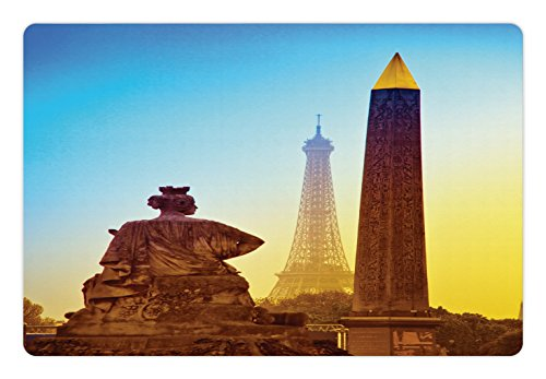 (Ambesonne Eiffel Tower Pet Mat for Food and Water, France Place De La Concorde Obelisk and The Landmark of The City, Rectangle Non-Slip Rubber Mat for Dogs and Cats, Caramel Yellow Blue)
