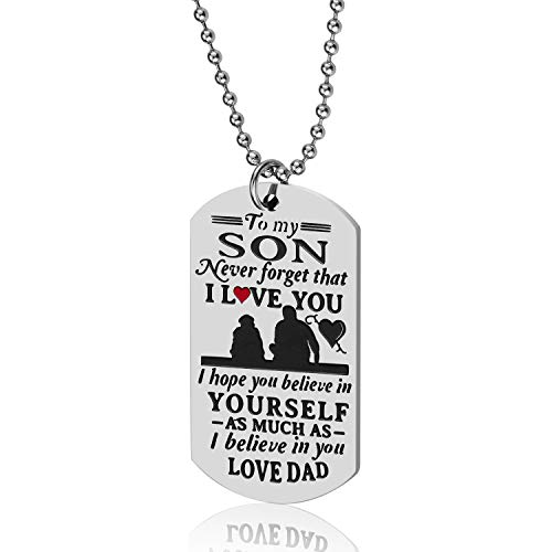 Lcbulu Dad to Son Necklace, to My Son Dog Tag Pendant Necklace, Father to Son Gifts for Boys Kids, Son Gift from Dad, Inspirational Son Necklace (Dad to Son-Never)