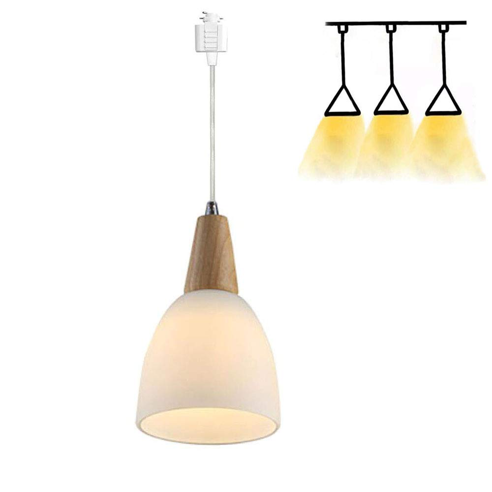 One Light H-Style Track Mount Pendant Fixture for Kitchen Hanging Lamp - Modern Wood and Matte Glass,Bulb not Included