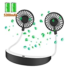 Personal Fan Necklace 5200mah, Portable Fan, Hand Free Mini Fan, USB Rechargeable, 4 Speeds 360 Degree Adjustment Head Cool Wearable Fan for Travel/Office/Home Outdoor Camping (Black&Grey)