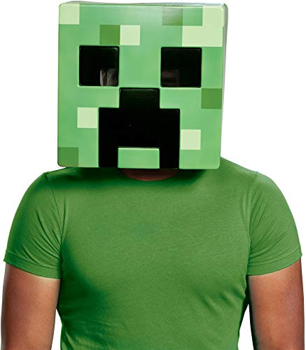 Minecraft Costume Creeper (Disguise Men's Creeper Adult Mask, Green, One)