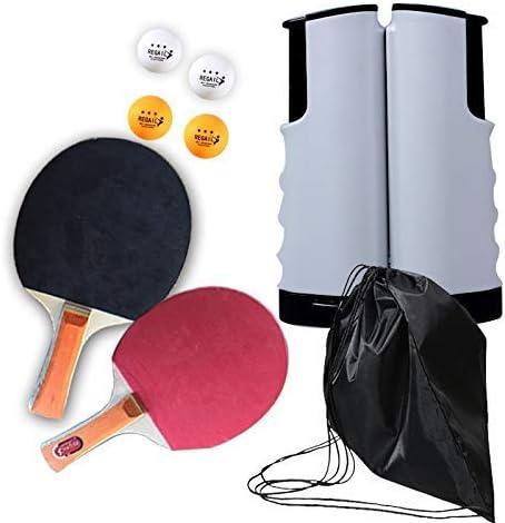 TRYSHA Conjuntos de Ping-Pong, portátiles retráctil Mesa de Ping Pong Redes con 2 Raquetas y Bolas de Ping-Pong de Goma 3 Mesa de Ping Pong Paddle Ping Pong Ball Set