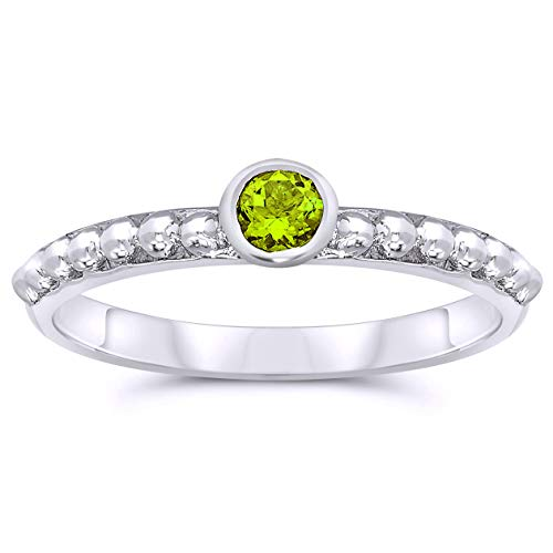 .925 Sterling Silver 3mm Round Shape Bezel Set Peridot Solitaire Ring, Birthstone of August ()