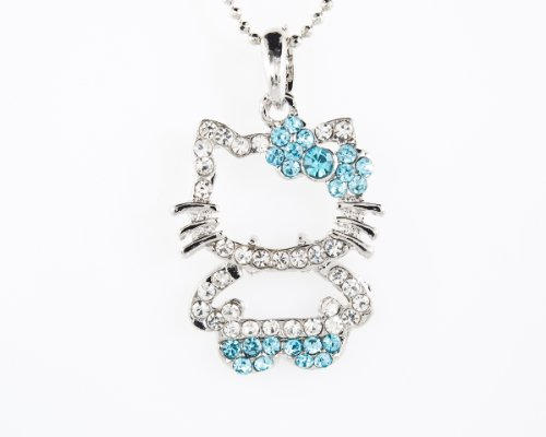 December Birthstone Color Hello Kitty Cat Bowknot Pendant Blue Zircon. Necklace or chain not included, sold separately.