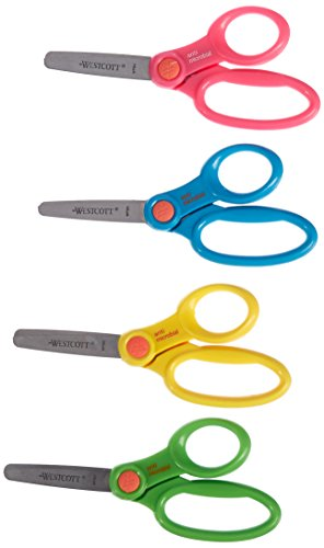 Westcott School Scissor Caddy and Kids Scissors With Anti-microbial Protection, 24 Scissors and 1 Caddy, 5-Inch Blunt (14756)