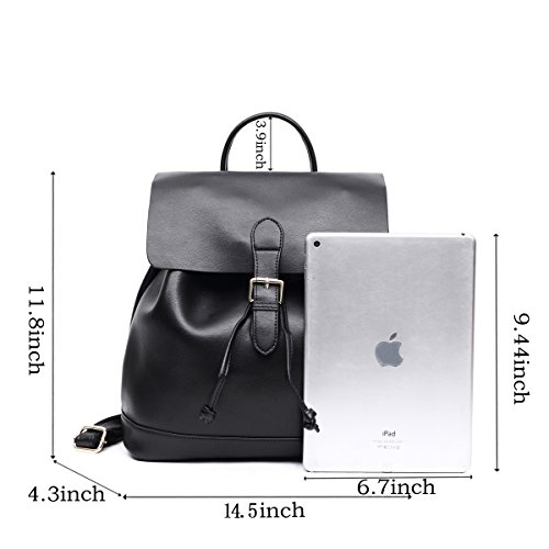 Bag Large Leather Ladies Genuine Black Brown Back Leather for Backpack Girls Women Daypack Big College Real School Fashion Shoulder Large Drawstring Casual Travel Purse 6Bwqq