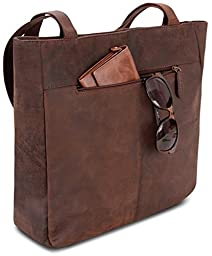 LEABAGS Darlington genuine buffalo leather shopper bag in vintage style - Nutmeg