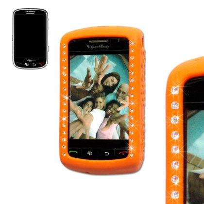 Diamond Soft Gel Protector Skin Cover (Faceplate/Snap On) Rubber Cell Phone Case for RIM Blackberry Storm 9530 Verizon - Orange -