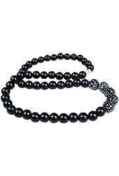 Unisex Black Plastic Beads Elastic Strand Necklace Pave Crystals Balls 12mm