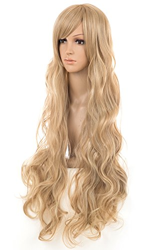 Spretty Beautiful Extra Long Blonde Curly Wavy Women's Costume Wig with Oblique Bangs (80's Wig Unisex)