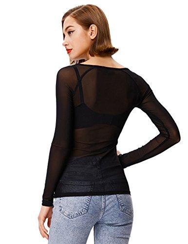 Women's Basic Long Sleeves Mesh Sheer Tops