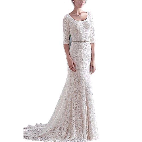 Yuxin Half Sleeves Lace Wedding Dress Sheath Bridal Gown Wedding Party Dress