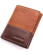 جنباولاي محفظة جلد ثلاث طبقات لون بني للرجال