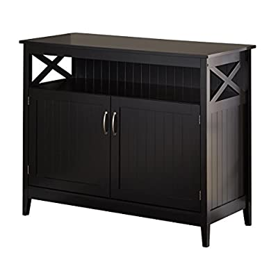 "Target Marketing Systems Southport Collection Contemporary Storage Buffet With Two Cabinets and Shelf for Storage, Black - Irresistible Dimensions: Designed to Be Spacious and Comfortable, This Buffet Storage Cabinet Has Been Created With Dimensions of 45"" x 20"" x 36"" and Weighs Only 84 lbs., Making it Lightweight and a Practical and Easy to Place Addition in Your Home Quality Craftsmanship: Crafted From Quality MDF and Solid Wood, This Storage Buffet Cabinet Has Been Built and Designed With Quality to Create and Introduce a Storage Buffet Cabinet That Will Be Durable and Long Lasting For Several Years to Come. To Enhance Durability, This Storage Buffet Cabinet Has Been Finished With Tapered Feet so There is No Floor Damage, Making it an Ideal and Necessary Addition to Your Home Contemporary Design: This Buffet Storage Cabinet Has Been Created to Provide a Sleek Finish to Your Home Décor. The Groove Beadboard Panels Make This a Stylish and Worthwhile Addition to Your Home Decor. Designed With an Elegant Appeal, it is Difficult to Ignore the Beauty and Stylish Design it Will Have to the Finishing Touches of Your Home Decor - sideboards-buffets, kitchen-dining-room-furniture, kitchen-dining-room - 415LU7bevtL. SS400  -"
