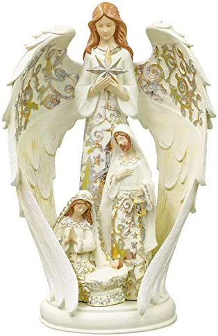 Angel With Holy Family Gold Leaf On White 16 x 10 Resin Holiday Figurine
