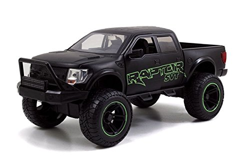 2011 Ford F-150 SVT Raptor Matt Black/Green Pickup Truck Off Road 1/24 by Jada 97479