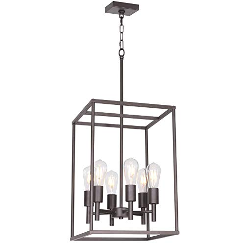 VINLUZ 6 Light Foyer Ceiling Light Oil-Rubbed Bronze Industrial Farmhouse Pendant Lighting with Square Cage Shades Fixture for Dinging Room Kitchen Entryway