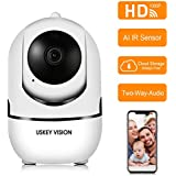 IP WiFi Camera Auto-Tracking 30Days Free Cloud Storage,Support Amazon Alexa Echo,1080P HD Home/Baby/Pet Monitor IR Sensor Motion Detection Two-Way Audio Night Vision Wireless Camera,1080P+White