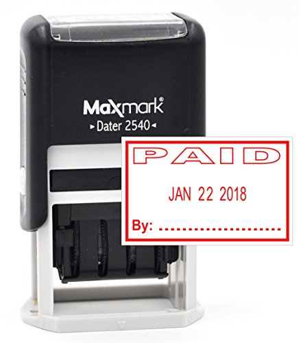 MaxMark Date Stamp with PAID Self Inking Stamp - RED INK