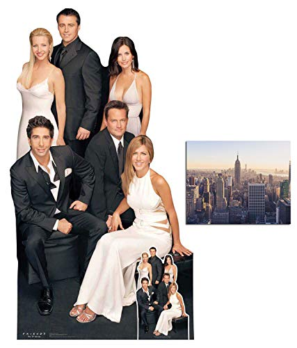 Friends Group Rachel, Ross, Joey, Chandler, Monica and Phoebe Large and Mini Cardboard Cutout Fan Pack, 173cm x 96cm Includes 8x10 Star Photo