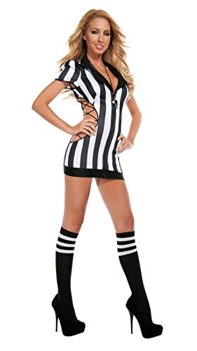 Starline Women's Sexy Cut-Out Referee Costume Set with Whistle, Black/White, Medium (Women Referee Costume)