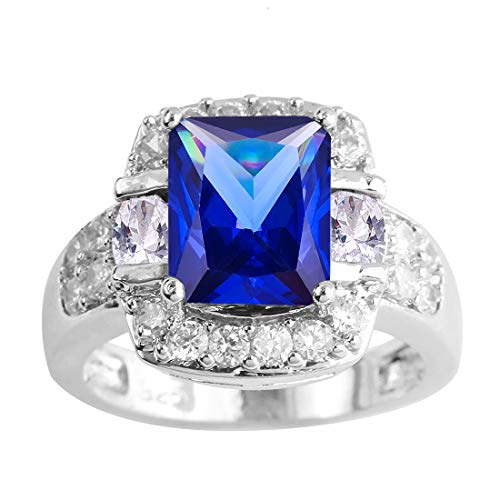 Psiroy 925 Sterling Silver Created Tanzanite Filled Halo Promise Ring