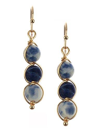"""Dainty Marbled Blue Faux-Stone & Goldtone Spiral Wire Twist 3 Bead Dangle Drop Earrings, 1 1/2"""" Long"""