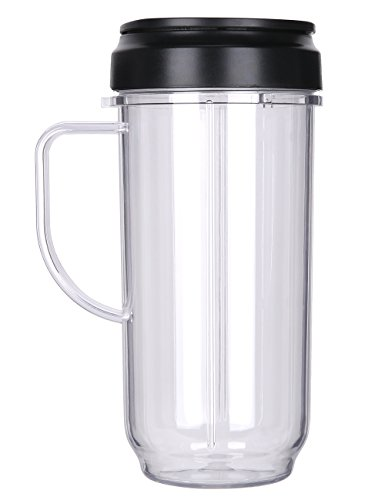 QT Replacement Part Flip Top Lid + 22oz Tall cup For 250w Magic Bullet Mugs & Cups (Cup Including Lid)