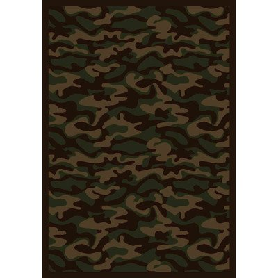 (Joy Carpets Kaleidoscope Funky Camo Whimsical Area Rugs, 46-Inch by 64-Inch by 0.36-Inch, Dark Army )