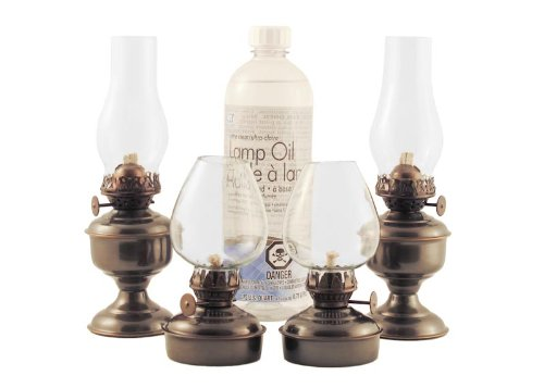 Vermont Lanterns Emergency Kit #5A - 4 x Small Antique Brass Oil Lamps, Wick + Lamp Oil